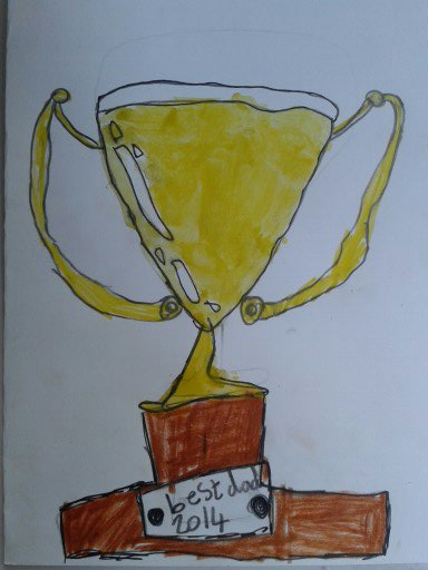 A child's painting of a trophy