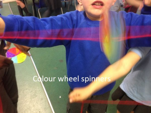 Child spinning a colour wheel spinner in CATS Club - children