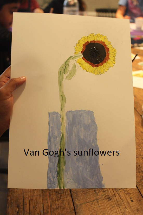 A childrens sunflower picture painted at Budding Artists