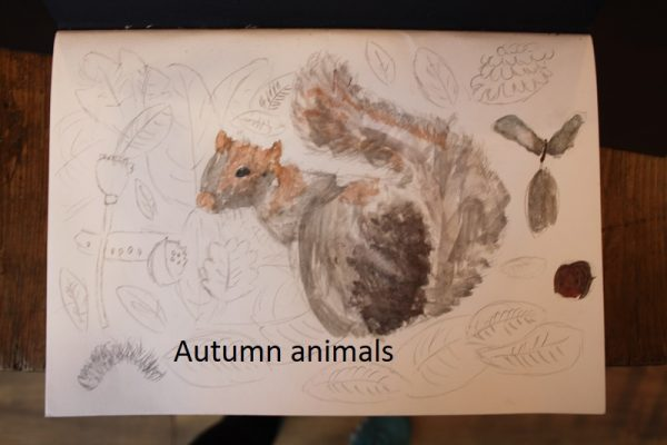 A child's painting of a squirrel