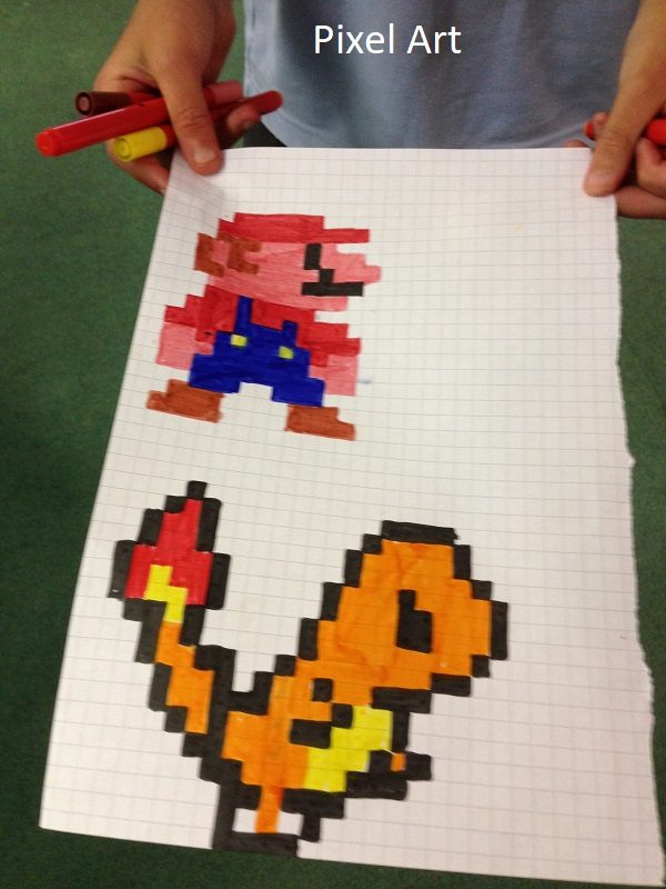 Examples of pixel art created at CATS Club