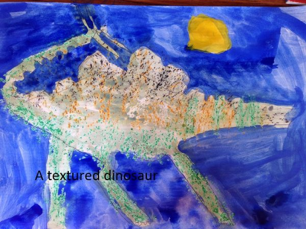 A child's painting of a dinosaur