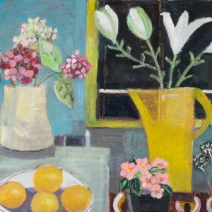 still life by jo sharpe of tulips in vase on table