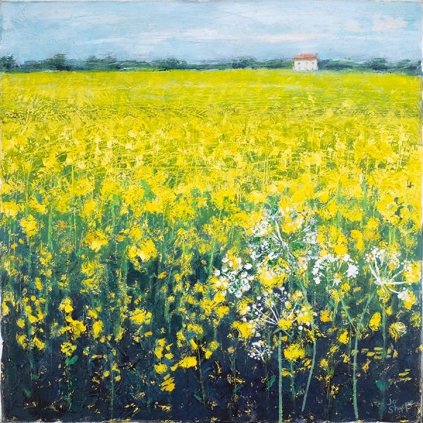 Painting Yellow Rapeseed field with cow parsley