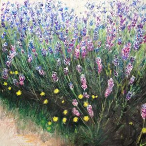 Mayfield Lavender Closeup mixed media on canvas (80cm by 80cm) (framed)