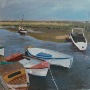 Blakeney Boats – oil on canvas (60x60cm) and prints