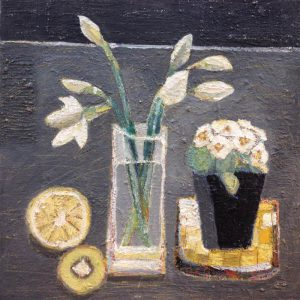 Daffodils, pot plant, lemon and lime – oil on canvas