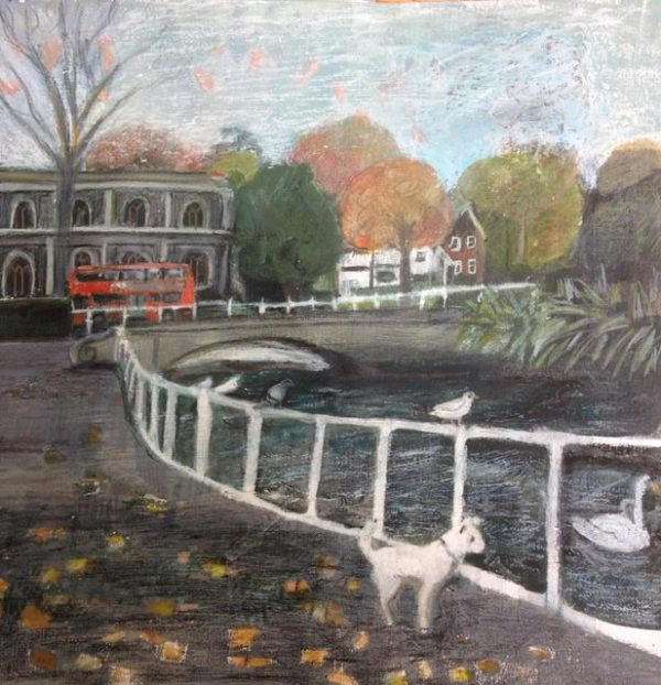 tilly at carshalton ponds. Tilly is a small white dog.