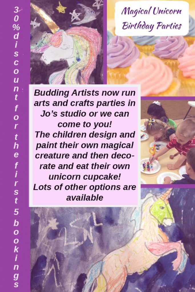 unicorn art party flyer