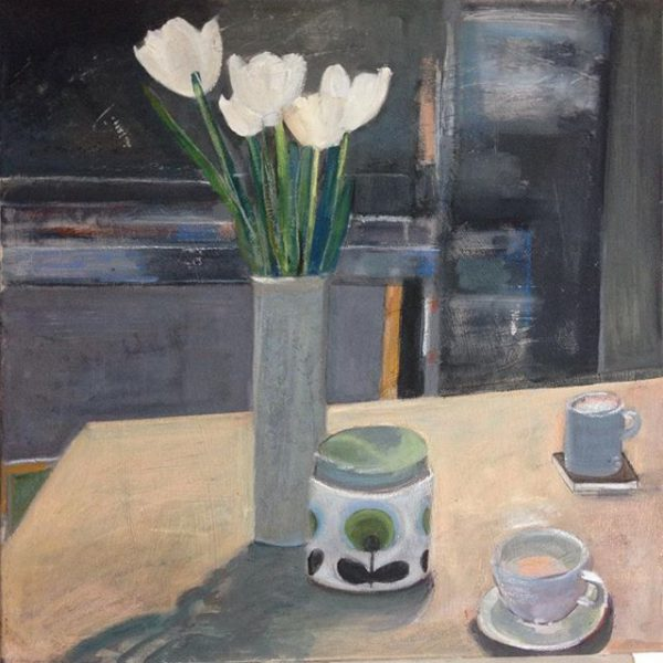 still life, white tulips and cup of coffee on table