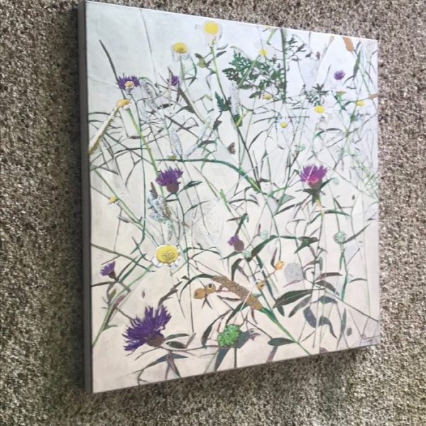 abstract botanical silver painting of wild fauna shown catching the light
