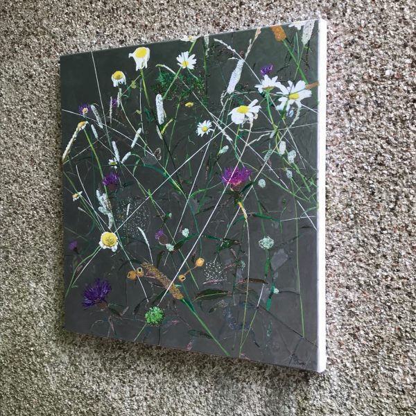 abstract botanical silver painting of wild fauna when not in the light