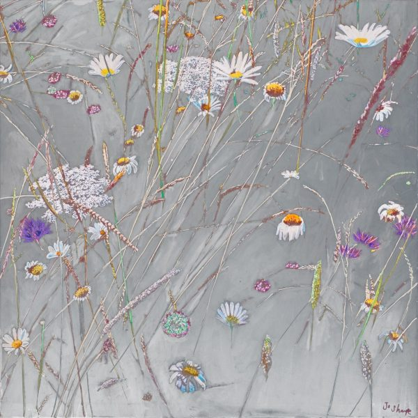 Wild flowers and grasses in Oaks Park with a hand painted silver background