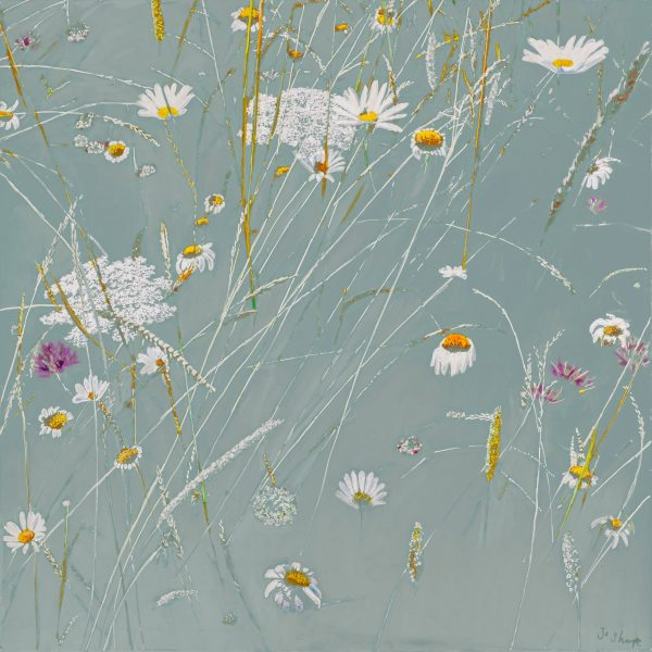 Abstract Botanical Wild flowers and grasses in duck egg