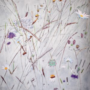 Abstract Botanical – Wild fauna in the British countryside (80cm by 80cm)