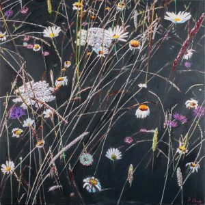 Abstract Botanical Wild flowers and grasses in Oaks Park  80cm x 80cm