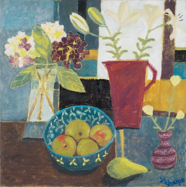 still life of lilies, hydrangeas apple and pear