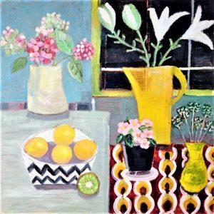 still life yellow jug, flowers and lemons