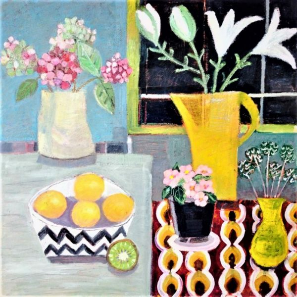 still life yellow jug, flowers and lemons