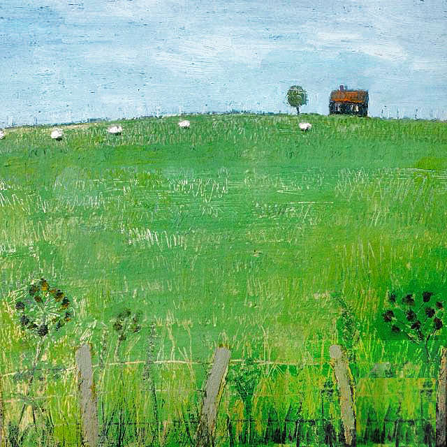 painting of a field with small barn in the distance