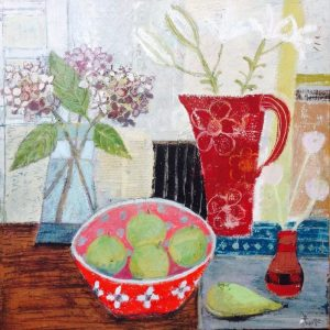 A contemporary still life with lilies and apples in a red bowl – Art print