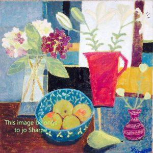 Hydrangeas, lillies, apples and a pear – Print
