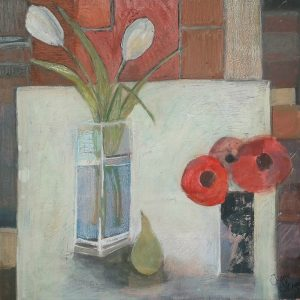 A contemporary still life with tulips and poppies