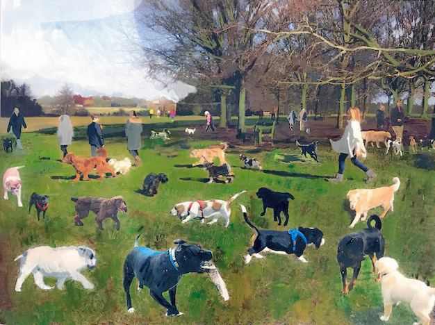 dogs walking in park - mixed media art