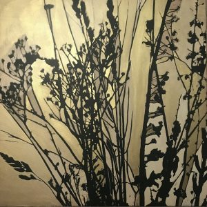 An abstract botanical gold painting of some Seedheads  60x60cm