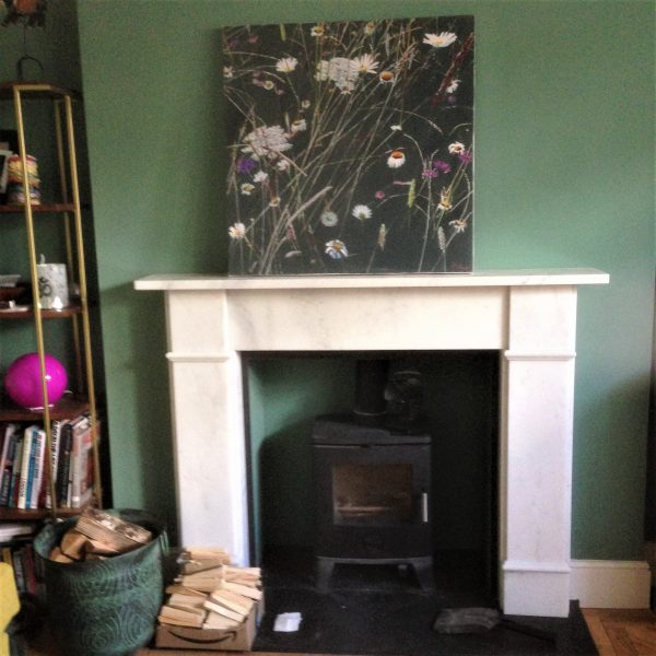 Abstract Botanical Wild flowers and grasses on a fire place