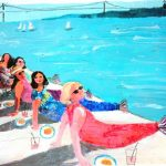 ladies slouching by pool mermaid tails