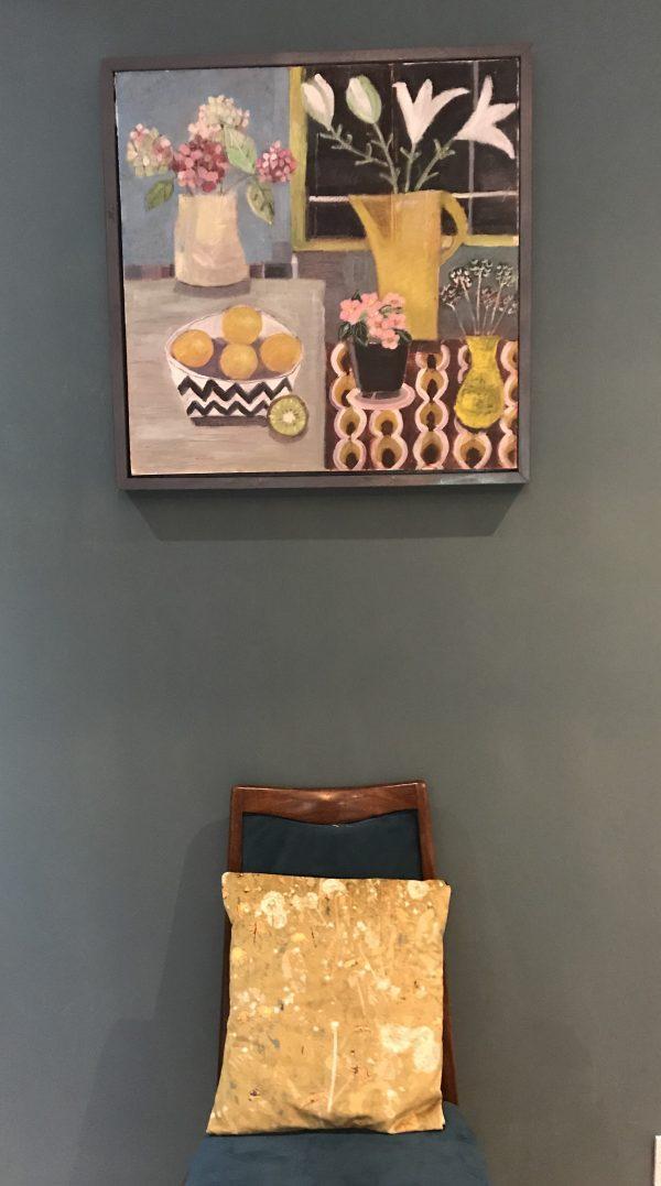Contemporary still life Vintage Still Life with dandelion velvet cushion
