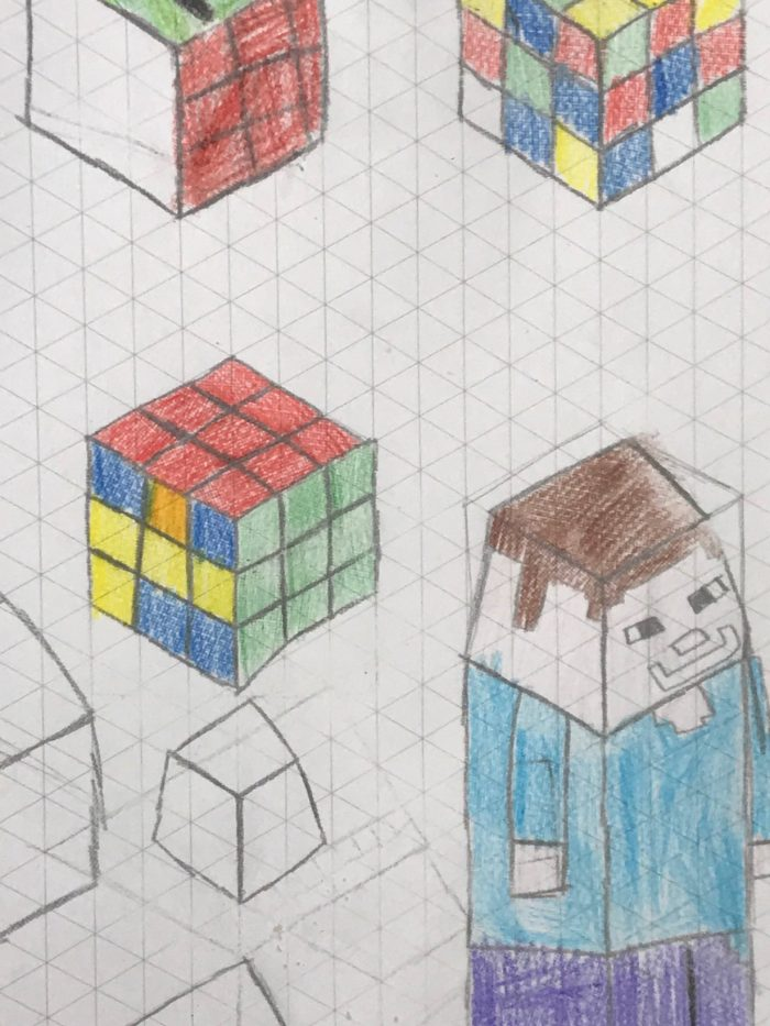 kids rubix cubes and minecraft drawings