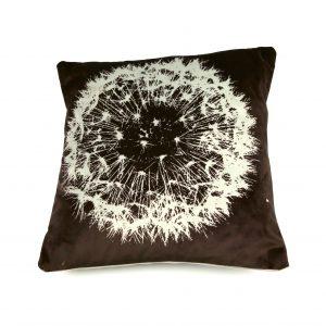 Dandelion Seedhead Cushion (aubergine/silver/sage)