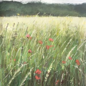 A beautiful Surrey Meadow painting with poppies 40x50cm