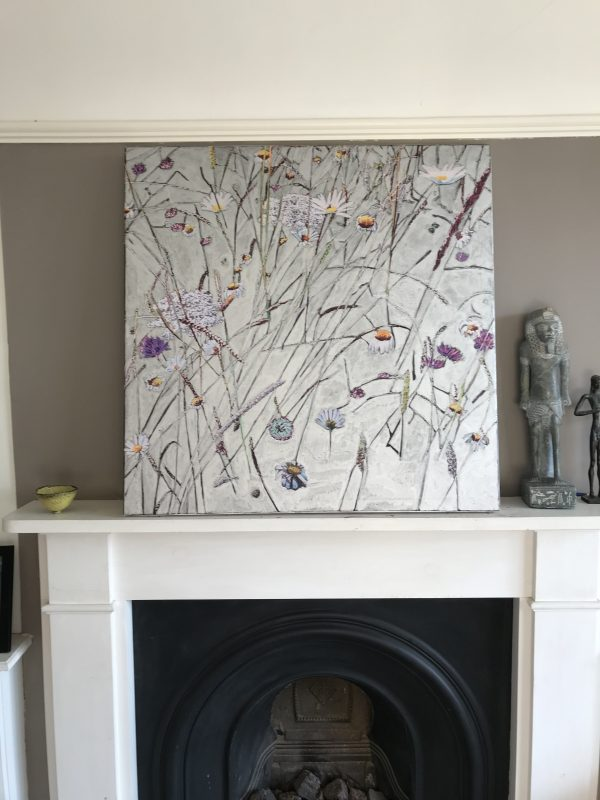 Contemporary botanical silver painting of Oaks Park on a mantle piece