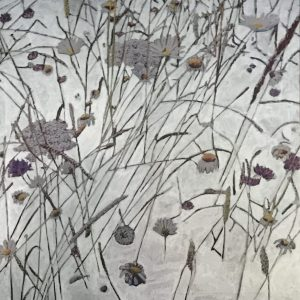 Contemporary botanical silver painting of Oaks Park Meadow 80 x 80cm