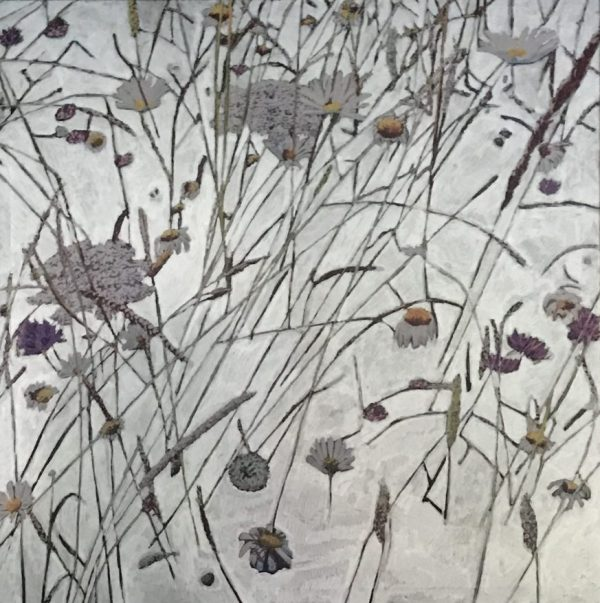 Contemporary botanical silver painting of Oaks Park