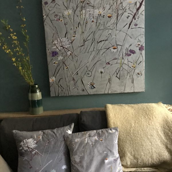 Contemporary botanical silver painting of Oaks Park with co-ordinating cushions