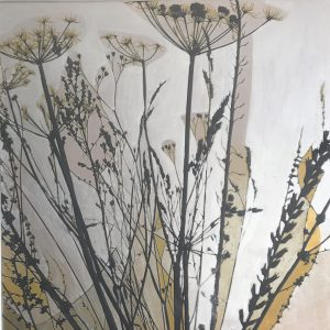 Contemporary botanical seed-heads painting 60 x 60cm