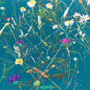 Contemporary botanical teal painting of Queen Mary's Woods 80 x 80cm
