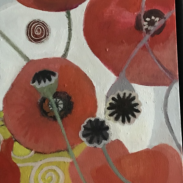 A section from my abstract red Poppies painting