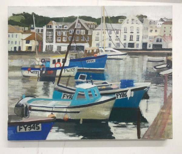 An acrylic painting by Jo Sharpe of Mevagissey harbour.