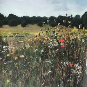 Nonsuch Park with Poppy Seedheads Painting 40x50cm