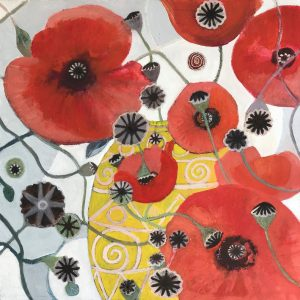 An Abstract Red Poppies Painting painted in oils on canvas 60 x 60cm