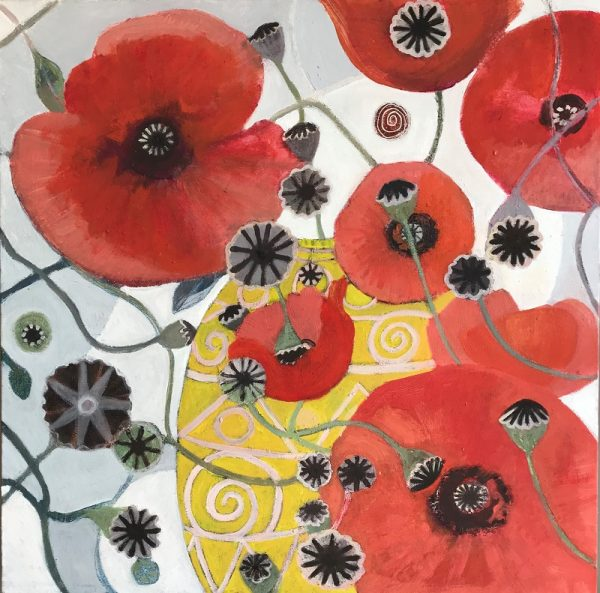 Abstract Red Poppies Painting by Jo Sharpe