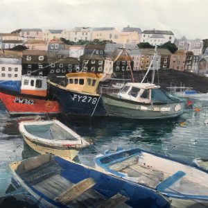 FY278 and other Fishing-boats-in-a-harbour collage painting on paper