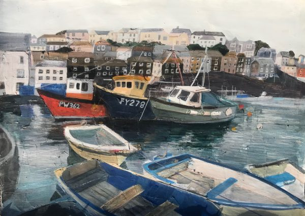 Fishing boats-in-a-harbour painting