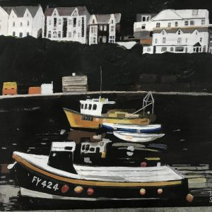 Boats in Cornish Harbour painting on paper 40 x 40cm