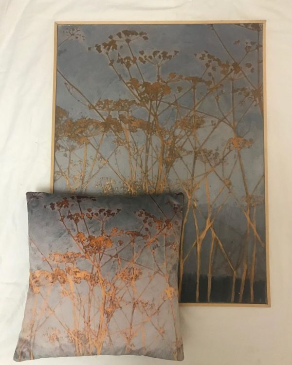 A contemporary blue botanical painting of cow parsley